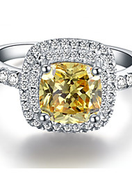 6*6mm Cushion Cut SONA Diamond Golden Color 1CT Engagement Ring for Women Sterling Silver in Platinum Plated
