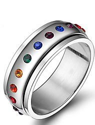 Unisex Rainbow Gay Pride Rhinestone Stainless Steel Band Ring