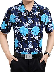 Men's Chinese Style  Slim Short Sleeved Floral Shirt,Cotton / Polyester Casual / Plus Sizes Floral