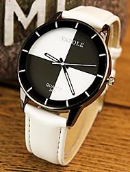 Для пары Модные часы Кварцевый Повседневные часы PU Группа Черный Белый Красный Розовый