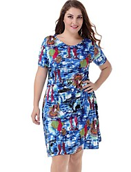 Women's Plus Size Casual / Holiday / Beach Short Sleeve Floral Print Dress