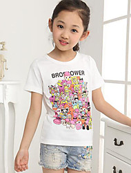 Girl's Casual/Daily Print Blouse,Cotton Summer White