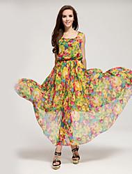 Women's Beach Boho A Line / Chiffon Dress,Geometric Boat Neck Maxi Sleeveless Yellow Polyester / Others All Seasons