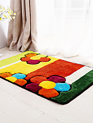 Country Style Polypropylene Bath Mats Floral Pattern