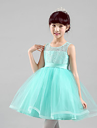 Ball Gown Knee-length Flower Girl Dress - Cotton / Satin / Tulle Sleeveless Jewel with Embroidery