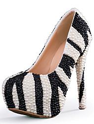 женская обувь стилет каблук каблуки каблуки свадьба / партия&вечер / платье черно-белое