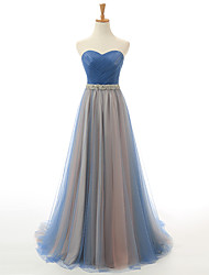Formal Evening Dress A-line Sweetheart Court Train Satin / Tulle with Crystal Detailing / Sash / Ribbon / Side Draping
