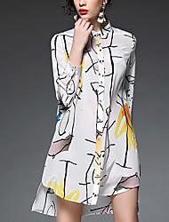 AFOLD® Femme Col de Chemise Manches 3/4 Genou Robes-5240