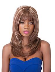 vogue européen moyen sythetic perruque brune partie mél soignée bang pour les femmes