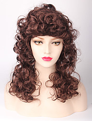 Capless Brown Color Natural Curly  High Quality Synthetic Wig