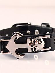 Harley Motorcycles Anchor Punk Skull Men Bracelets Wide Retro Cowboy Leather Bracelet