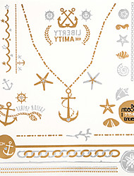 8 Assorted Patterns Gold Tattoo Sticker Temporary Flash Tattoos Star Jewllry Necklace Body Art with 3PCS Colorful Tattoo