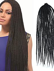 "Black Senegal Crochet Twist Medium Box Braid 24"" Kanekalon 3 Strand 100g Synthetic Hair Braids with Free Crochet Hook"