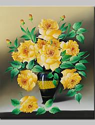 Peint à la main A fleurs/Botanique Peintures à l'huile,Classique / Réalisme Un Panneau Toile Peinture à l'huile Hang-peint For Décoration