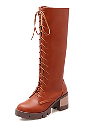 Women's Shoes Chunky Heel Round Toe Lace-up Knee High Boot More Color Available