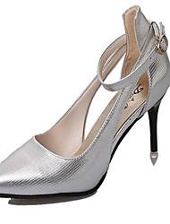 Women's Shoes Leatherette Stiletto Heel Heels / Closed Toe Heels Party & Evening / Dress Silver / Gray / Gold
