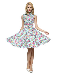 Maggie Tang Women's 50s VTG Retro Floral Rockabilly Hepburn Pinup Cos Party Swing Dress 530