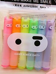 paquetes de la pluma fluorescente ahm22504 6 de color lindo del ninja