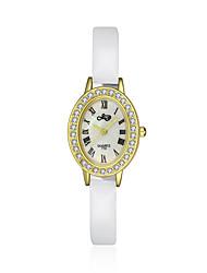 jewelora Mulheres Relógio de Moda Quartzo Resistente ao Choque Couro Banda Vintage Branco Branco