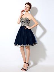 +2017 Коктейль платье Онлайн возлюбленной короткий / мини тюль с кристально подробным
