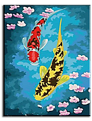 Hand Painted Oil Paintings Chinese Style Of Fish Wall Decor with Stretched Frame Ready to Hang