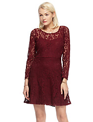 Women's Going out Simple Sheath Dress,Jacquard Round Neck Above Knee Long Sleeve Red Cotton / Nylon Summer