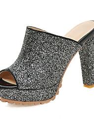 Women's Shoes Fabric / Glitter Summer Platform / Slippers & Flip-Flops Dress / Casual Platform Black / Silver