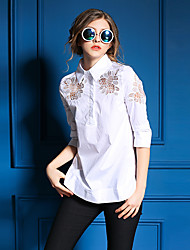 Ewheat® Women's Shirt Collar 3/4 Length Sleeve Shirt & Blouse White-H0456