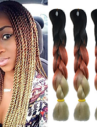 "Black Reddish Brown Beige Ombre Crochet 24"" Yaki Kanekalon 3 Tone Jumbo Braids 100g Synthetic Hair with Free Hook"