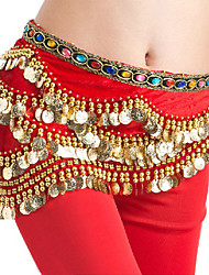 Belly Dance Hip Scarves Women's Performance Lycra Gold Coins 1 Piece Sleeveless Natural Hip Scarf