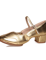 Women's Dance Shoes Leather  Jazz / Modern Heels  / Sneakers  Heel Practice / Performance  Shoes Red / Silver / Gold