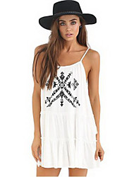 Women's Casual/Daily Loose Dress,Print Strap Mini Sleeveless White Acrylic / Polyester Summer