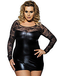 Women Long-sleeved Lace Tight Sexy Patent Leather Nightclub Lingerie