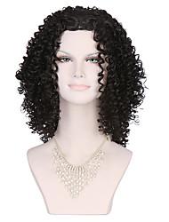 Noir perruque Synthétique Fabriqué à la machine Perruques Moyen Noir Cheveux