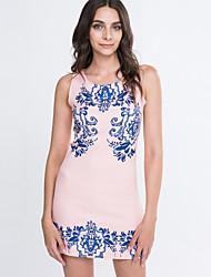 Women's Vintage Sexy Print Plus Sizes Micro Elastic Sleeveless Above Knee Dress (Cotton Blends)
