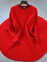 Damen Lang Pullover-Ausgehen / Lässig/Alltäglich Einfach Solide Rot / Schwarz Rundhalsausschnitt Langarm Polyester Herbst / Winter Mittel