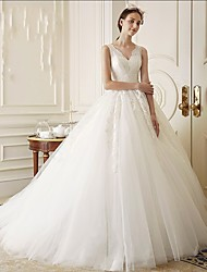 Ball Gown Wedding Dress Court Train V-neck Tulle with Appliques