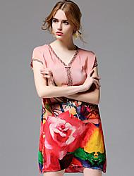 AFOLD® Damen V-Ausschnitt Kurze Ärmel Knielänge Kleid-5676