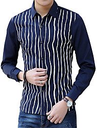 In the spring of new young men's long sleeved cotton shirt striped shirt s casual business tide