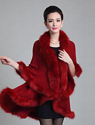 Damen Solide Einfach Lässig/Alltäglich Mantel,Winter V-Ausschnitt ½ Länge Ärmel Mehrfarbig Mittel Fuchsfell