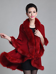 Women's Casual/Daily Simple Coat,Solid V Neck ½ Length Sleeve Winter Multi-color Fox Fur Medium