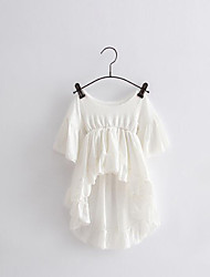 Girl's Going out Solid Dress / Blouse,Cotton Summer / Spring White
