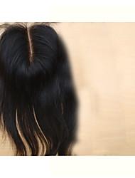 """8 """"Brazilský panna uzavírací vlasy střední část 3.5"""" x4 """"rovné přírodní barva vlasů kousky uzavření krajka 1ks"""