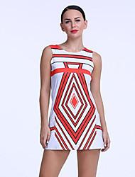 Mulheres Bainha Vestido,Happy-Hour Simples / Moda de Rua Estampado Decote Redondo Mini Sem MangaRosa / Vermelho / Branco / Preto /