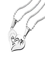 Minded couple necklace heart-shaped diamond pendant