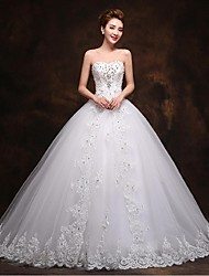 A-line Wedding Dress Lacy Look Court Train Sweetheart Tulle with Bow Appliques Beading