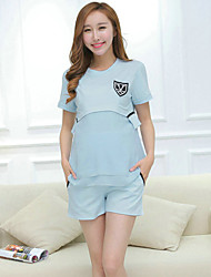Maternity Round Neck T-shirt,Rayon / Spandex Short Sleeve
