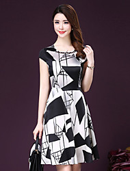 Women's Street chic Print Plus Size / Swing Dress,Round Neck Knee-length Silk / Polyester