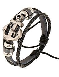 Fashionable Black 17cm Round Leather Bracelets