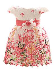 красный / синий / фуксия младенца платья девушки, цветочные полиэфирные все сезоны